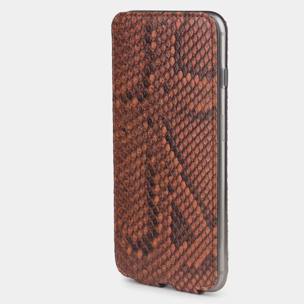 Чехол для iPhone 8 Plus из натуральной кожи питона, цвета коньяк