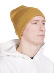 Шапка бини зимняя мужская горчичная