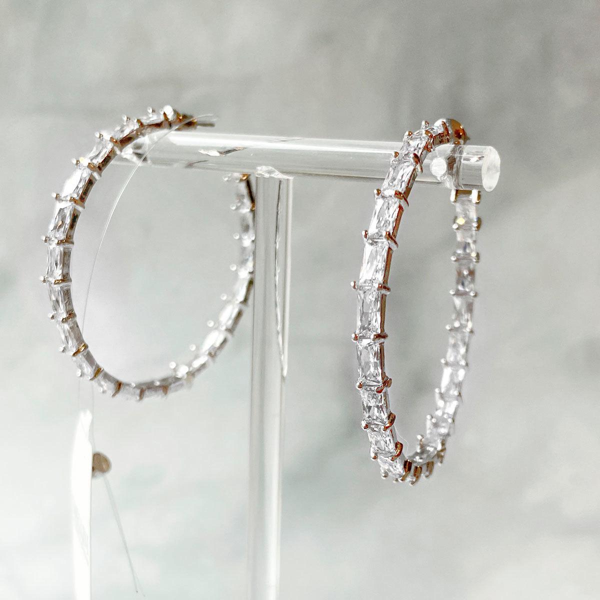 Серьги-конго Овальные с багетными цирконами 5см (серебро 925)