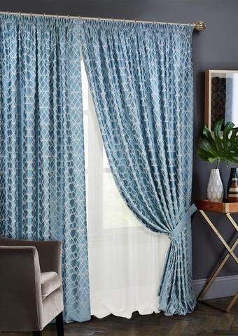Комплект штор Алмаз с тюлем голубой
