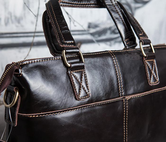 BAG418-2 Шикарная мужская сумка из натуральной кожи с ремнем на плечо фото 04