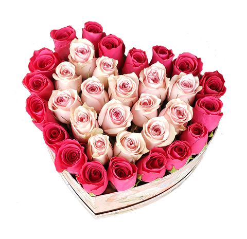 Сердце в коробке из розовых и малиновых роз 2