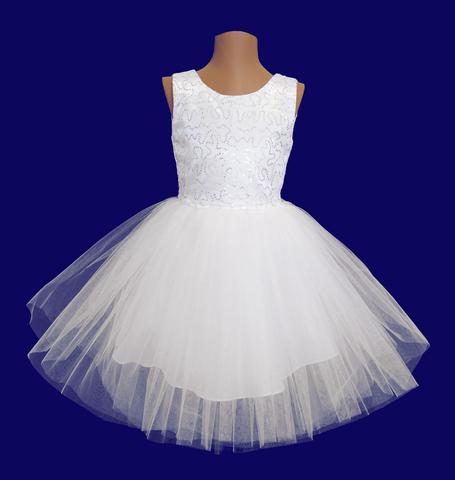 Платье белое с пайетками для малышек
