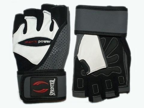 Перчатки для т/а,  без пальцев, усиленная область ладони, широкий напульсник с липучкой, верх перфорирован для лучшего доступа воздуха. Цвет: черный - белый. :(459 XXL):