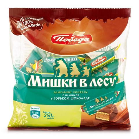 Конфеты шоколадные Победа вкуса Мишки в лесу вафельные 250 г