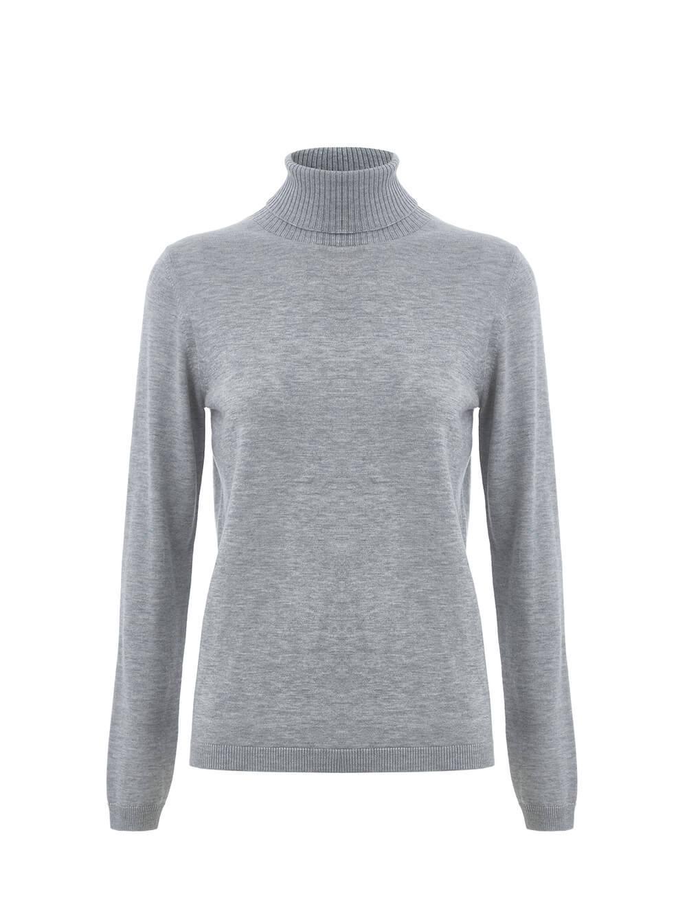 Женская водолазка цвета серый меланж из шерсти и шелка - фото 1