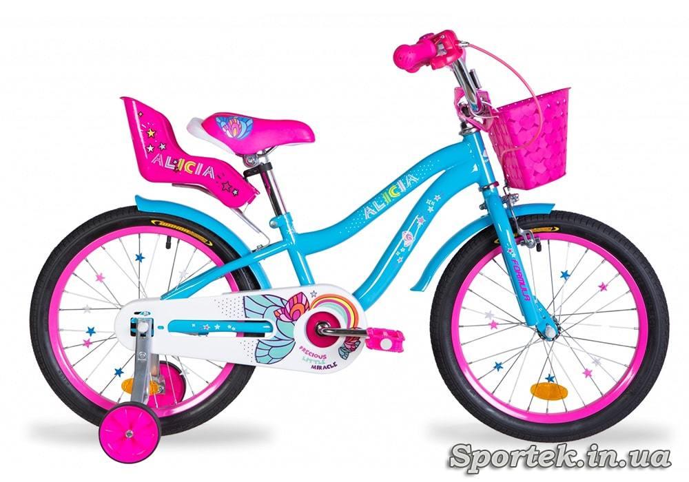 Голубой велосипед Formula Alicia для девочек ростом от 105 до 120 см (колеса 18 дюймов)