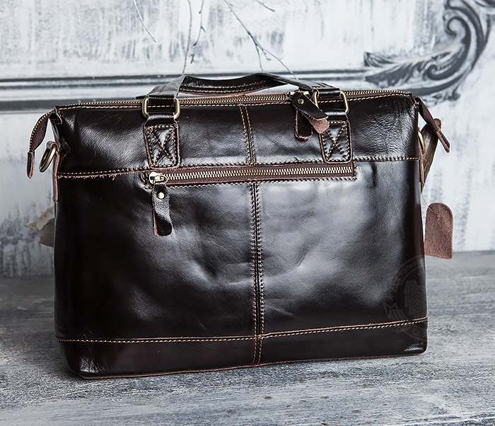 BAG418-2 Шикарная мужская сумка из натуральной кожи с ремнем на плечо фото 05