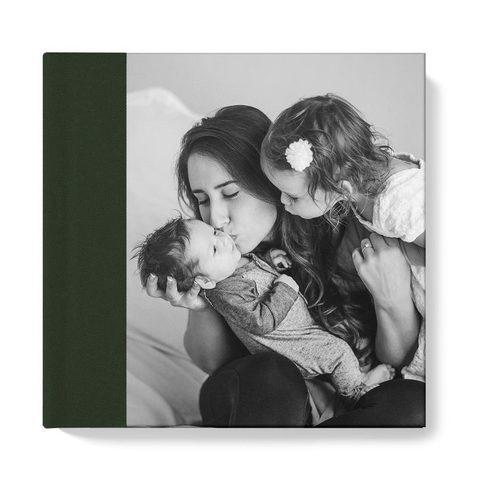 20x20 фотокнига с фото-обложкой + текстильный торец