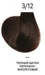 OLLIN MEGAPOLIS 3/12 темный шатен пепельно-фиолетовый 50мл Безаммиачный масляный краситель для воло