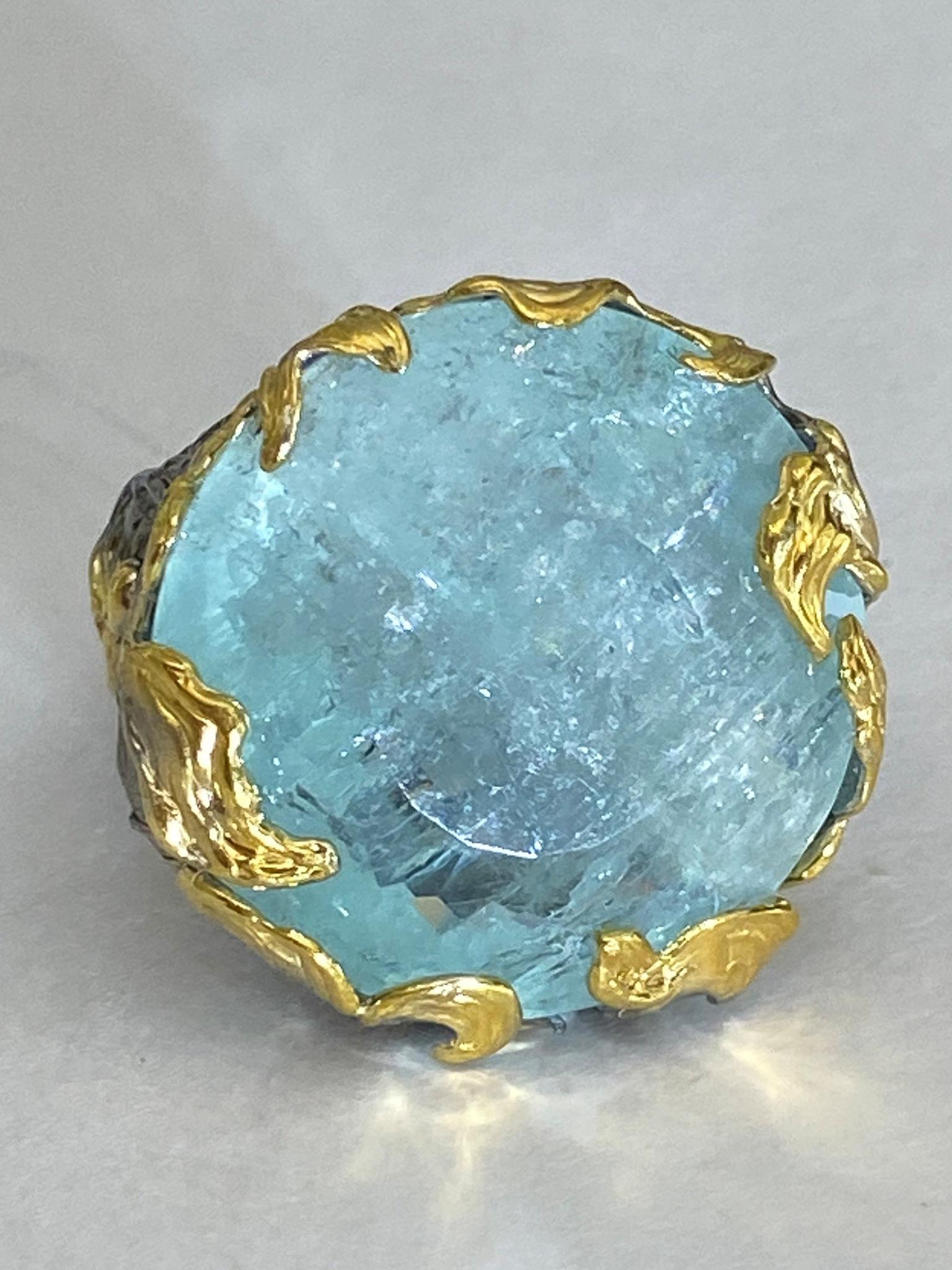 Фабула-аквамарин(серебряное кольцо с позолотой)