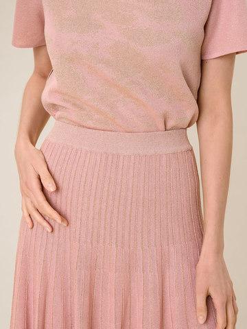 Женская юбка-плиссе светло-розового цвета из вискозы - фото 6