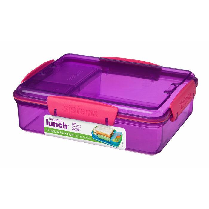 """Ланч-бокс Sistema """"Lunch"""" с разделителями, 975 мл, цвет Фиолетовый"""