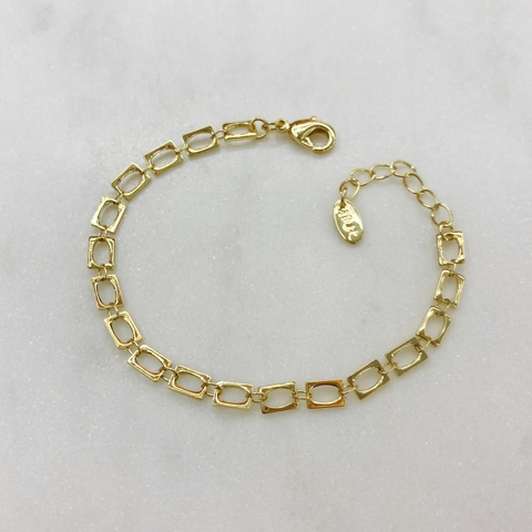 Браслет-цепь тонкая из прямоугольных звеньев (золотистый)
