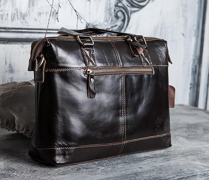 BAG418-2 Шикарная мужская сумка из натуральной кожи с ремнем на плечо фото 06
