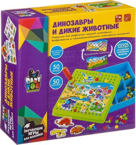 Мозаика Bondibon Динозавры и дикие животные, для малышей, с картинками-шаблонами, фишками и отверткой, ВВ3744