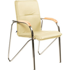 Конференц-кресло Samba светло-бежевый (искусственная кожа/бук/металл хромированный)