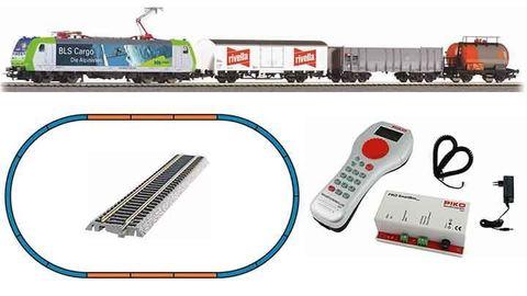 Цифровой набор с электровозом BLS Re 485 и 3-мя грузовыми вагонами, рельсы на по