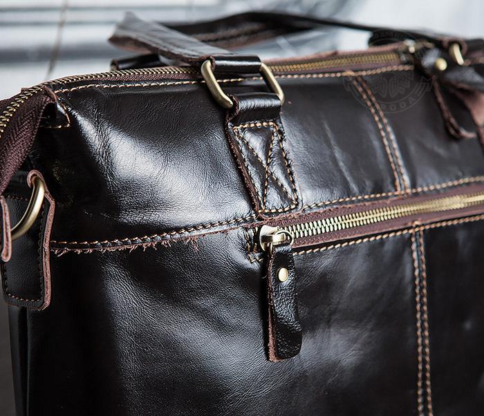 BAG418-2 Шикарная мужская сумка из натуральной кожи с ремнем на плечо фото 07