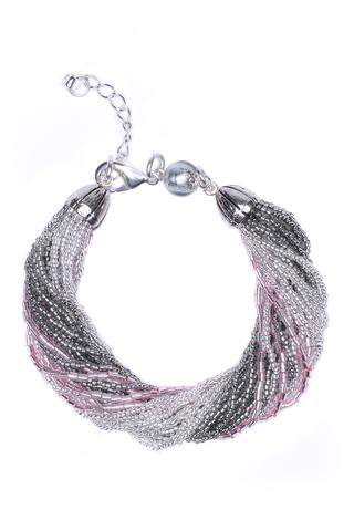 Бисерный браслет, 24 нити, серо-розовый