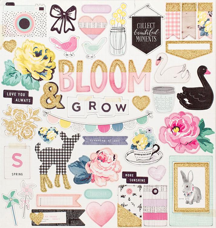 Чипборд из коллекции BLOOM от Maggie Holmes -Crate Paper