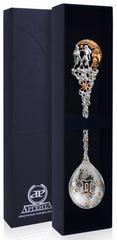Серебряная ложка «Зодиак-Близнец» с позолотой