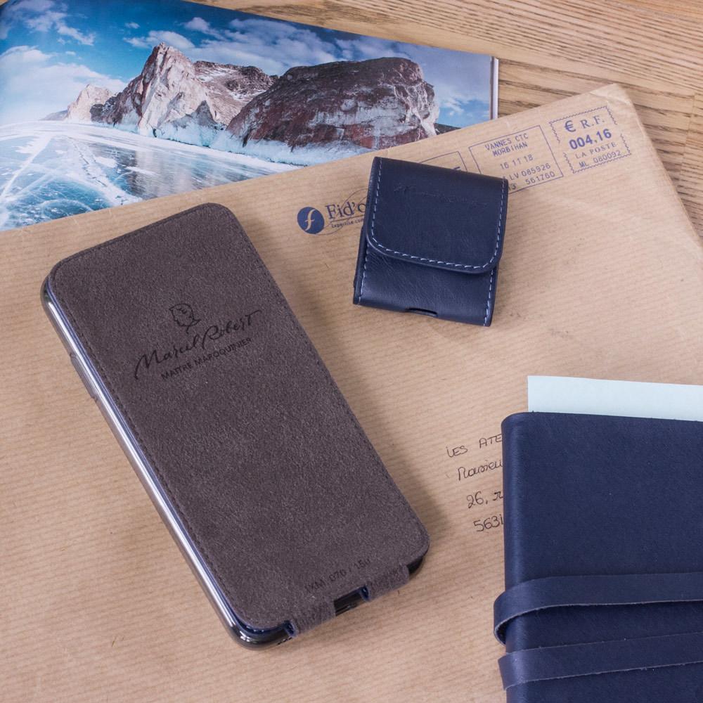 Чехол для iPhone XS Max из натуральной кожи теленка, цвета индиго