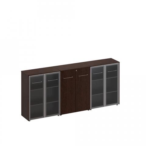 Шкаф комбинированный средний(стекло - закрытый - стекло) (274x46x120)