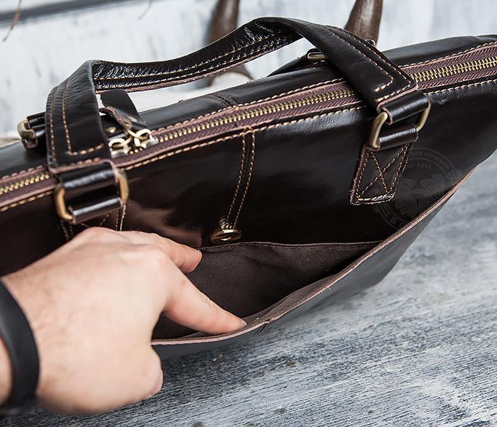 BAG418-2 Шикарная мужская сумка из натуральной кожи с ремнем на плечо фото 09