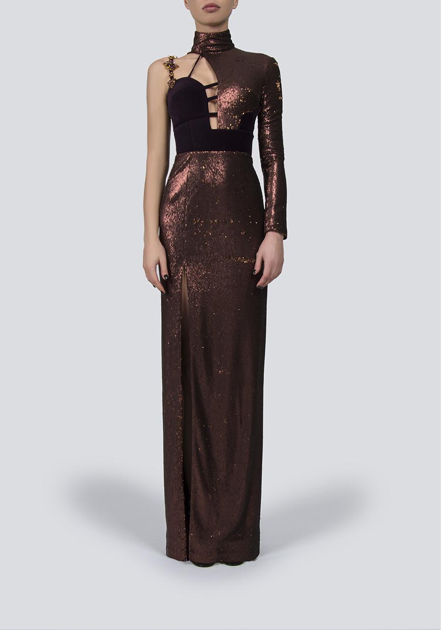 Вечернее платье из пайеток бронза