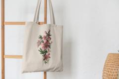 Сумка-шоппер с принтом Цветы (Лилии) бежевая 0012