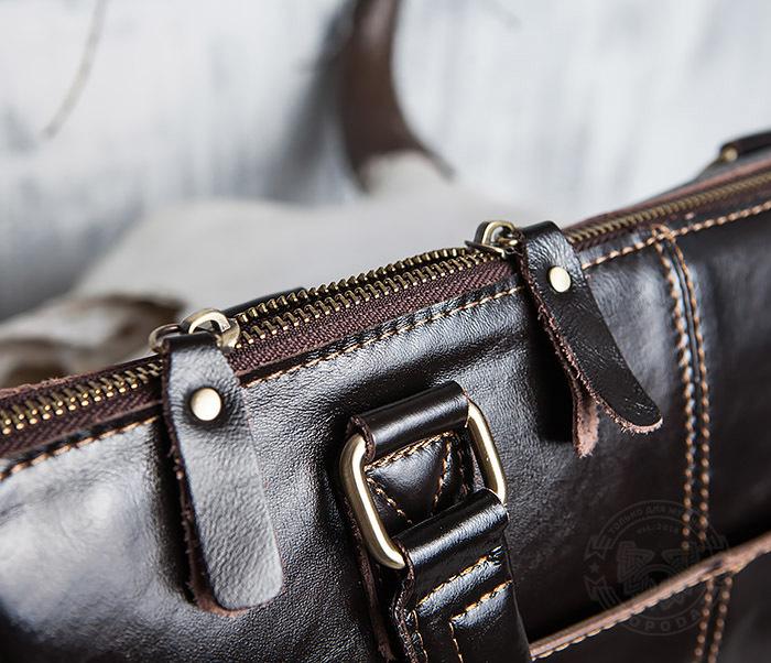 BAG418-2 Шикарная мужская сумка из натуральной кожи с ремнем на плечо фото 10