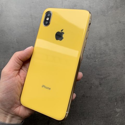 Чехол iPhone XS MAX Glass Silicone Case Logo /yellow/