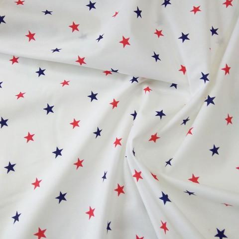 Ткань хлопковая красно-синие звезды на белом, отрез 50*80 см