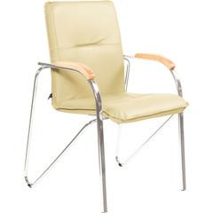 Конференц-кресло Samba светло-бежевый (искусственная кожа/бук/металл серебристый)