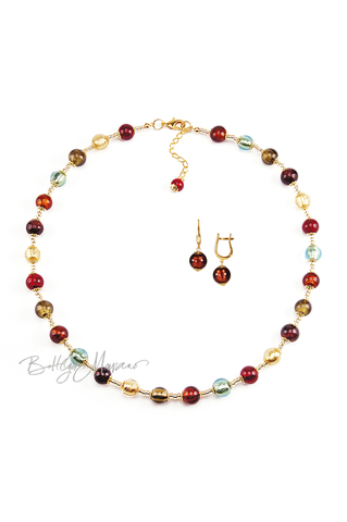 Комплект Carnavale Oro (коричневые серьги на серебре, ожерелье)