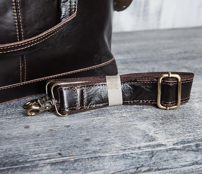 BAG418-2 Шикарная мужская сумка из натуральной кожи с ремнем на плечо фото 11