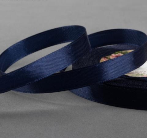 Лента атласная,цвет тёмно-синий, 10мм*23±1м