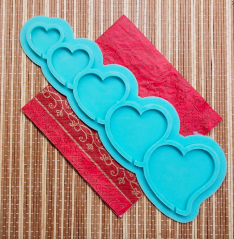 Форма силиконовая для леденцов Сердечки № 3 №130