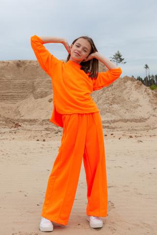 Костюм 24/7 (свитшот+брюки), цвет неон оранж