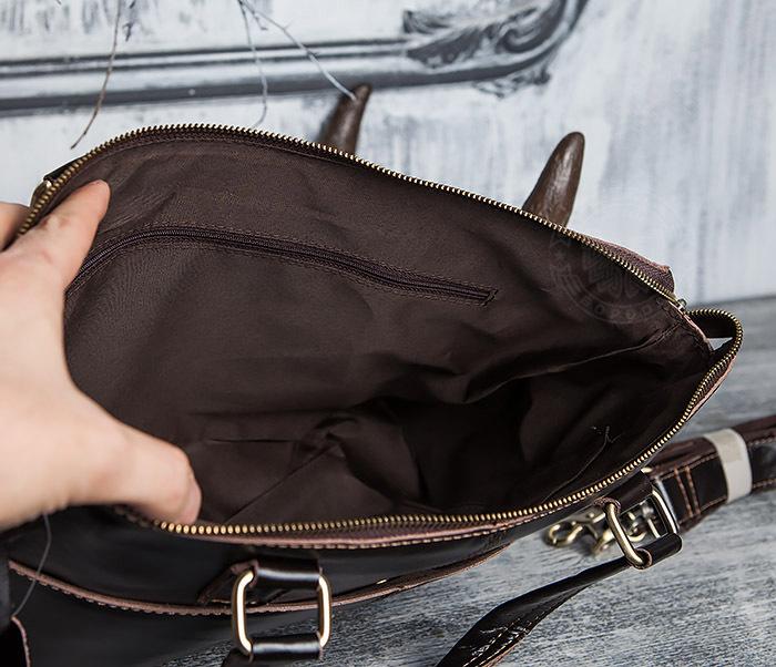 BAG418-2 Шикарная мужская сумка из натуральной кожи с ремнем на плечо фото 12