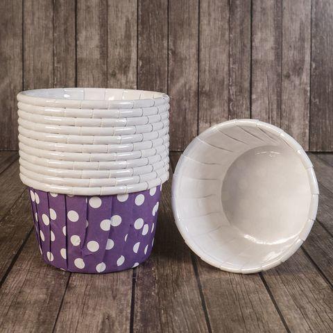 Форма бумажная капсула Маффин фиолетовый/белый горох 100шт 50х40 мм