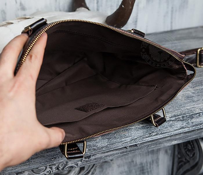 BAG418-2 Шикарная мужская сумка из натуральной кожи с ремнем на плечо фото 13