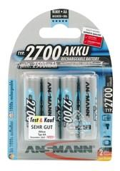 Аккумулятор АА/NiMH ANSMANN 1.2V, 2700мАч, 4шт