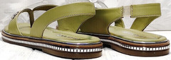 Кожаные женские сандали босоножки с ремешком на пятке Evromoda 454-411 Olive.
