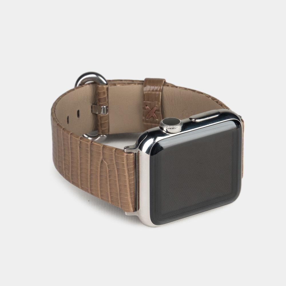 Ремешок для Apple Watch 38/40mm ST Classic из натуральной кожи ящерицы, цвета кофе