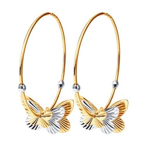 020693 -  Серьги-конго из золота с подвесками бабочками Ø40 мм