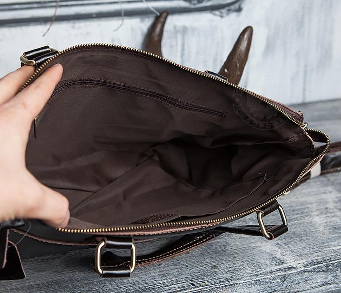 BAG418-2 Шикарная мужская сумка из натуральной кожи с ремнем на плечо фото 14
