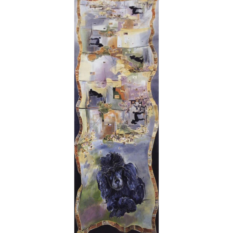 Палантин из натурального шелка ручной росписи батик Очаровательный пудель