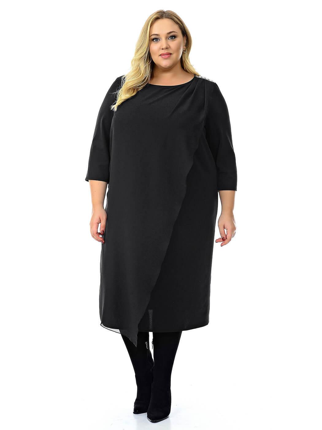Черное нарядное платье с шифоном 74 размер